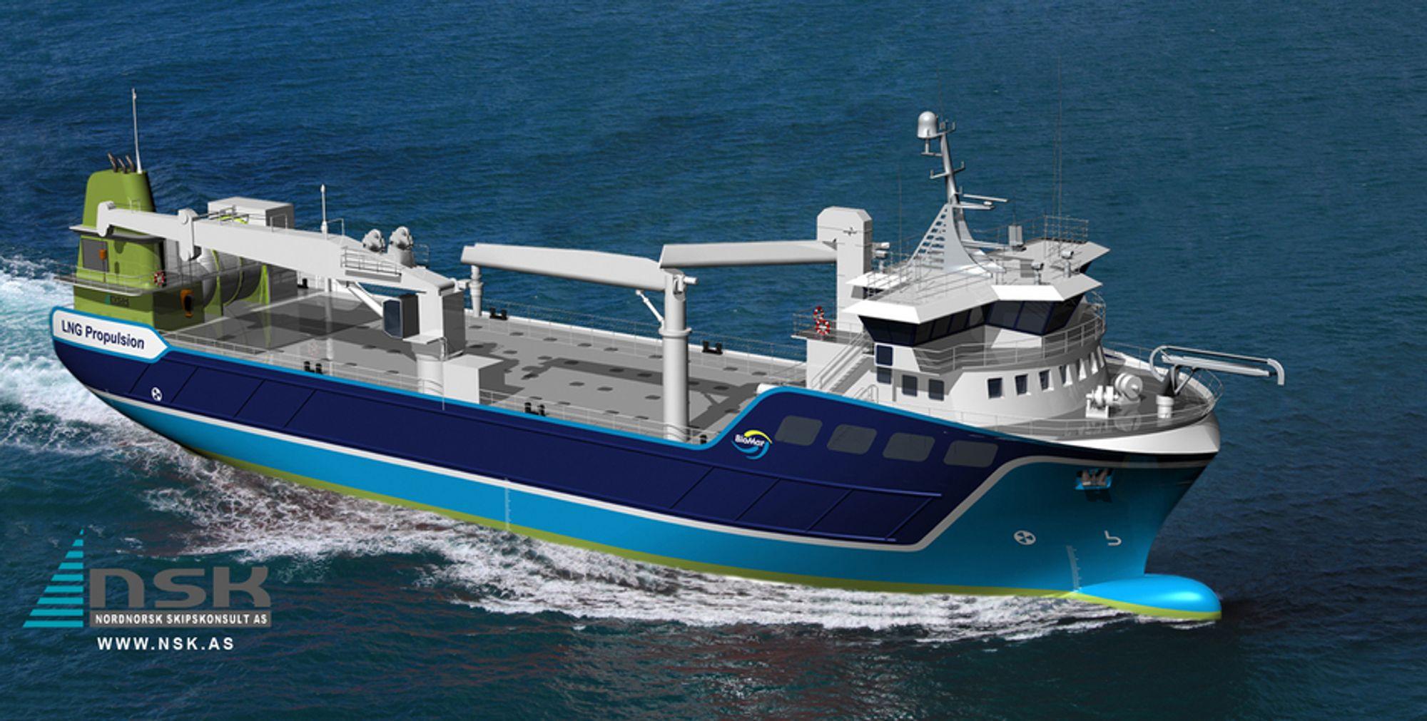 FABRIKKFRAKTER: NSK Shipings fiskefôrskip skal hente fôr ved BioMarins farbrikker og levere til oppdrettere langs kysten.
