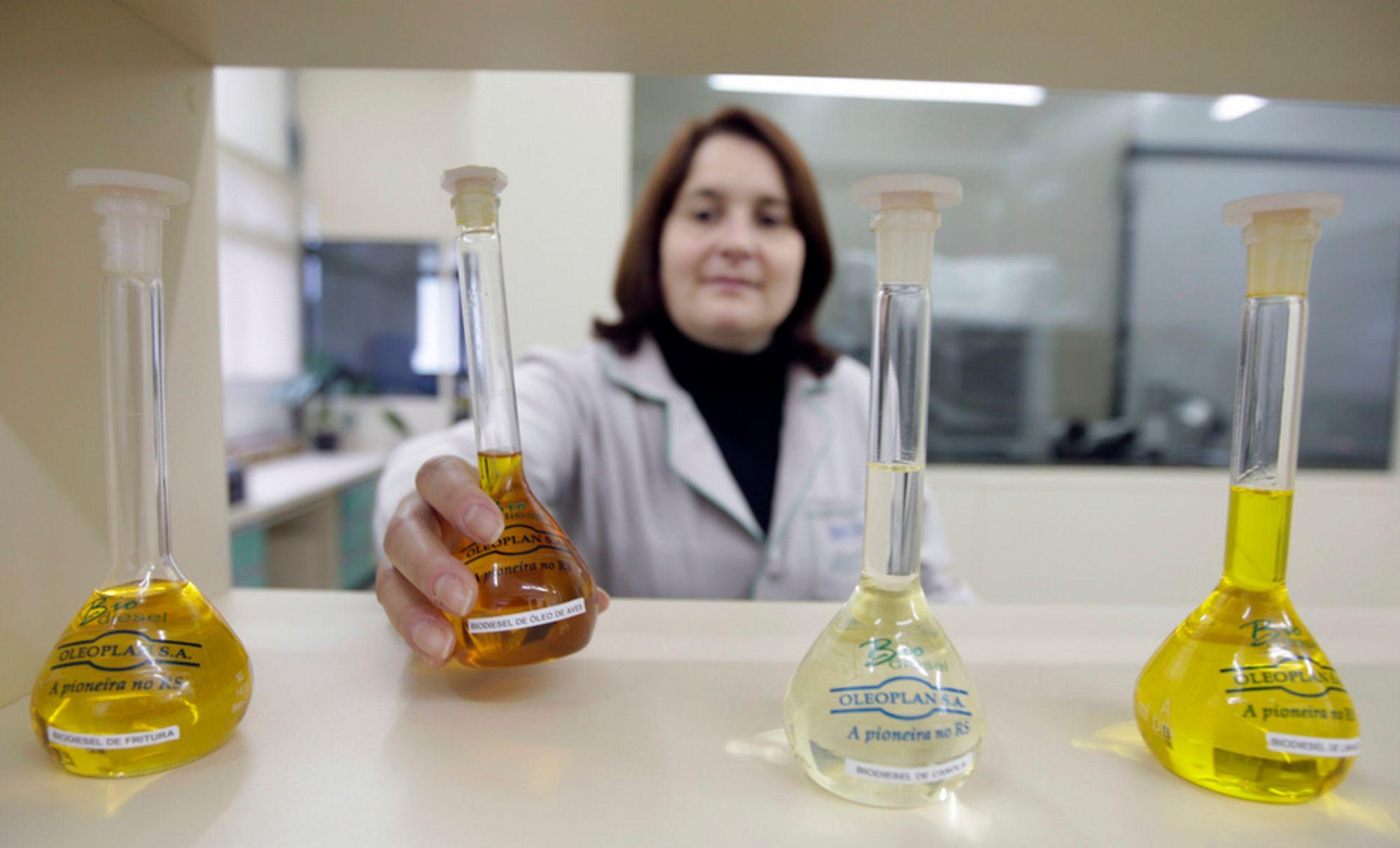 KRITISERES: En kjemiingeniør sjekker flasker med biobrennstoff ved Oleoplan-fabrikken i Passo Fundo. De brasilianske storprodusentene av bioetanol har fått sterk kritikk for det som betegnes som slavelignende tilstander på deres plantasjer.