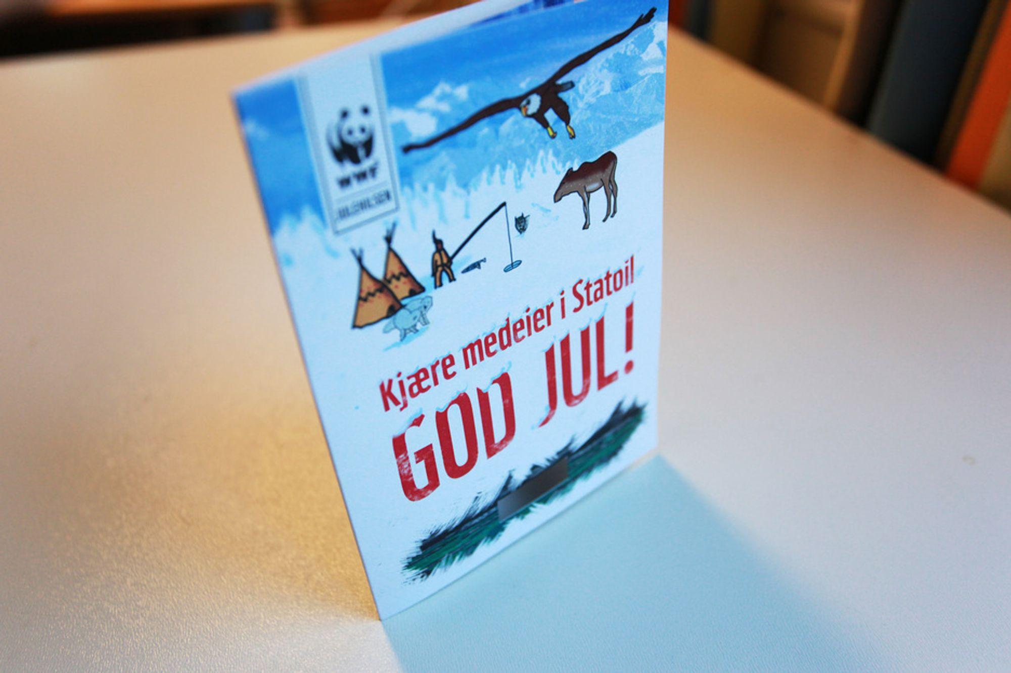 FARLIG AVFALL: WWF legger ved tjæresand i julekortene i år.
