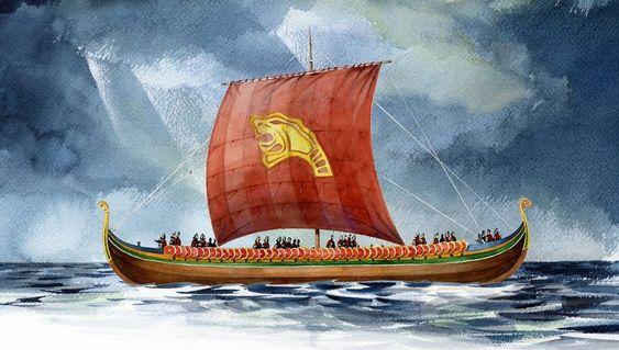 PÅ TOKT: Slik kan Harald Hårfagre se ut i 2013 når skipet seiler med fullt mannskap. Det trengs 12 til åseile det og 100 til å ro det. *** Local Caption *** Bygging av Vikingskipet Draken Harald Hårfagre ved Haugesund. Landets fremste trebåtbyggere er engasjert i byggingen. Skipet blir 34 meter langt, ca. 8 meter bredt og et deplasement på 70 tonn. Skipet vil veie ca. 20 tonn og ballst blir på 20 tonn.Oppstart:                Mars 2010Kjølstrekk/røysskål:   Mai 2010Avbordardram:         November 2011Sjøsetting:              Mai 2012Første tokt: Mai 2013