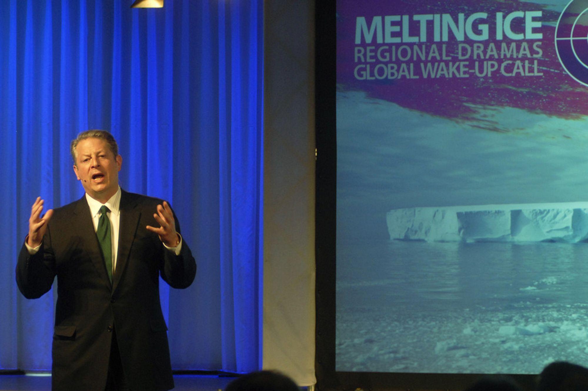 Al Gore oppfordret i går til å handle mot sotlaget på jorda.