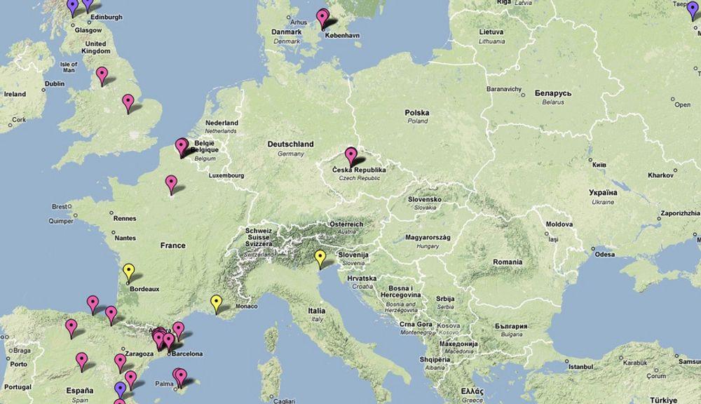 KART: På Google Maps kan du følge svineinfluensaens ferd over kontinentene. Via nålene kan du lese hvilke kilder som rapporterer om døde, syke eller mistanker om sykdom.