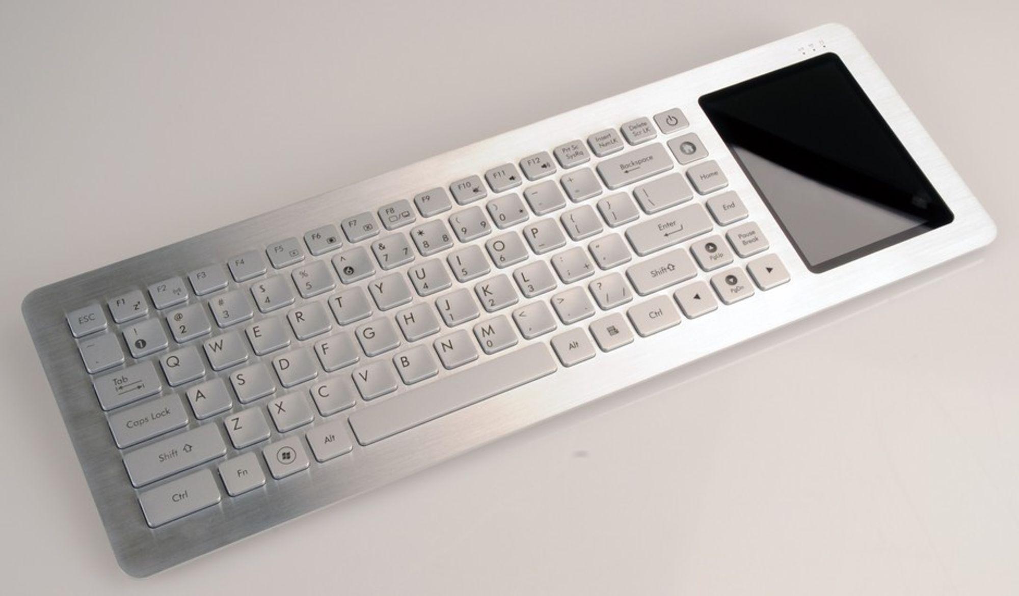 ASUS Eee Keyboard PC har all innmaten bygget inn i tastaturet og kobles trådløst til skjermen med Ultra WideBand Wireless.