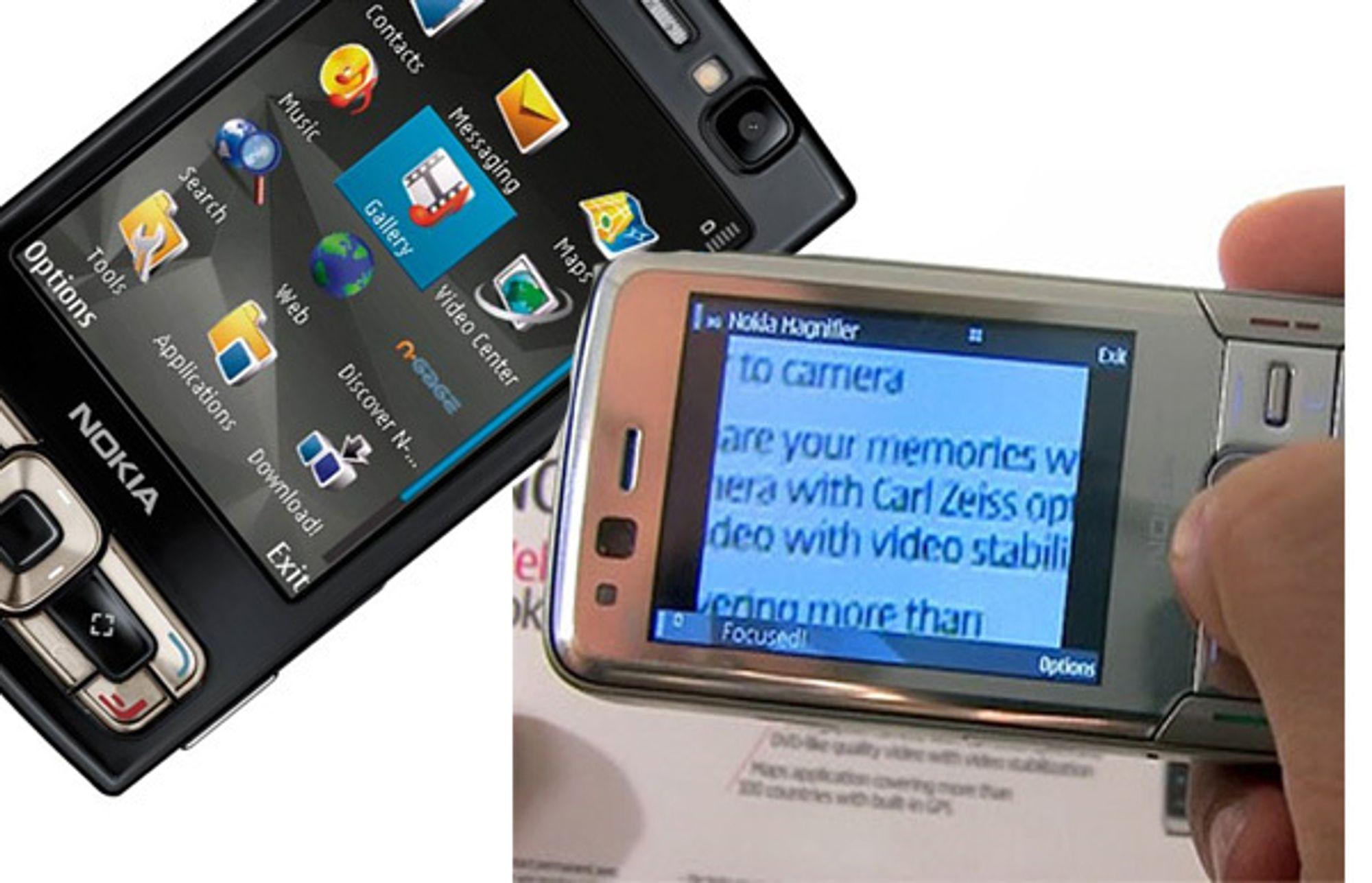 Nokia N95 er blant mobilene som kan ta i bruk Nokias nye forstørrelsesglassprogram Magnifier.