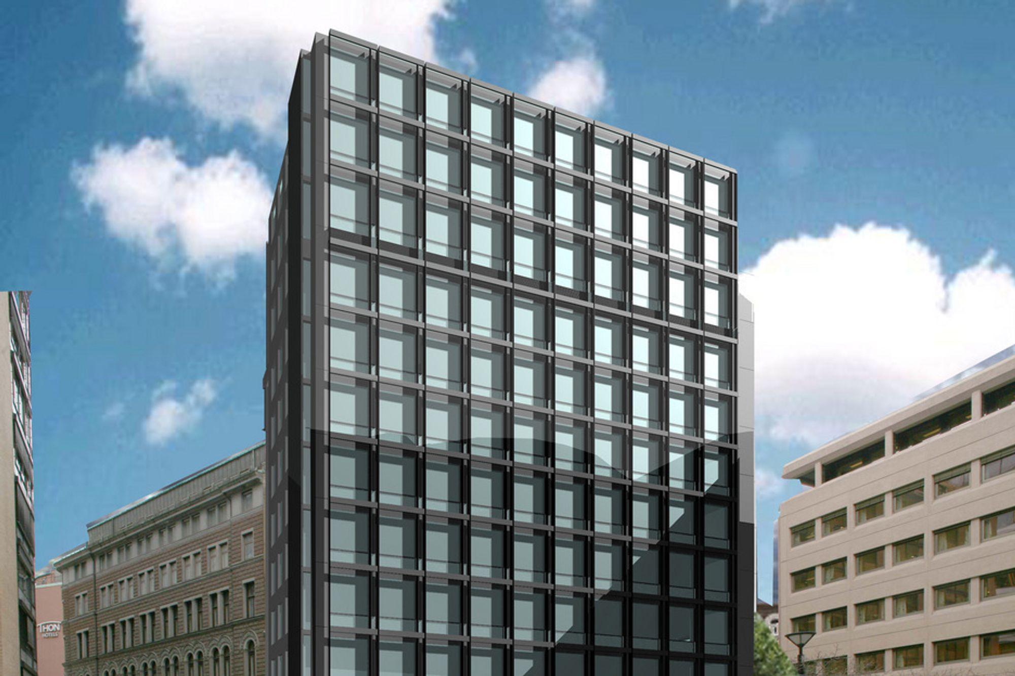 FERDIG: Slik blir Teatergata 9 seende ut når bygget står ferdig i 2012. Det blir sannsynligvis det eneste av de tre byggene som utgjør R6 som klarer energimerke B.