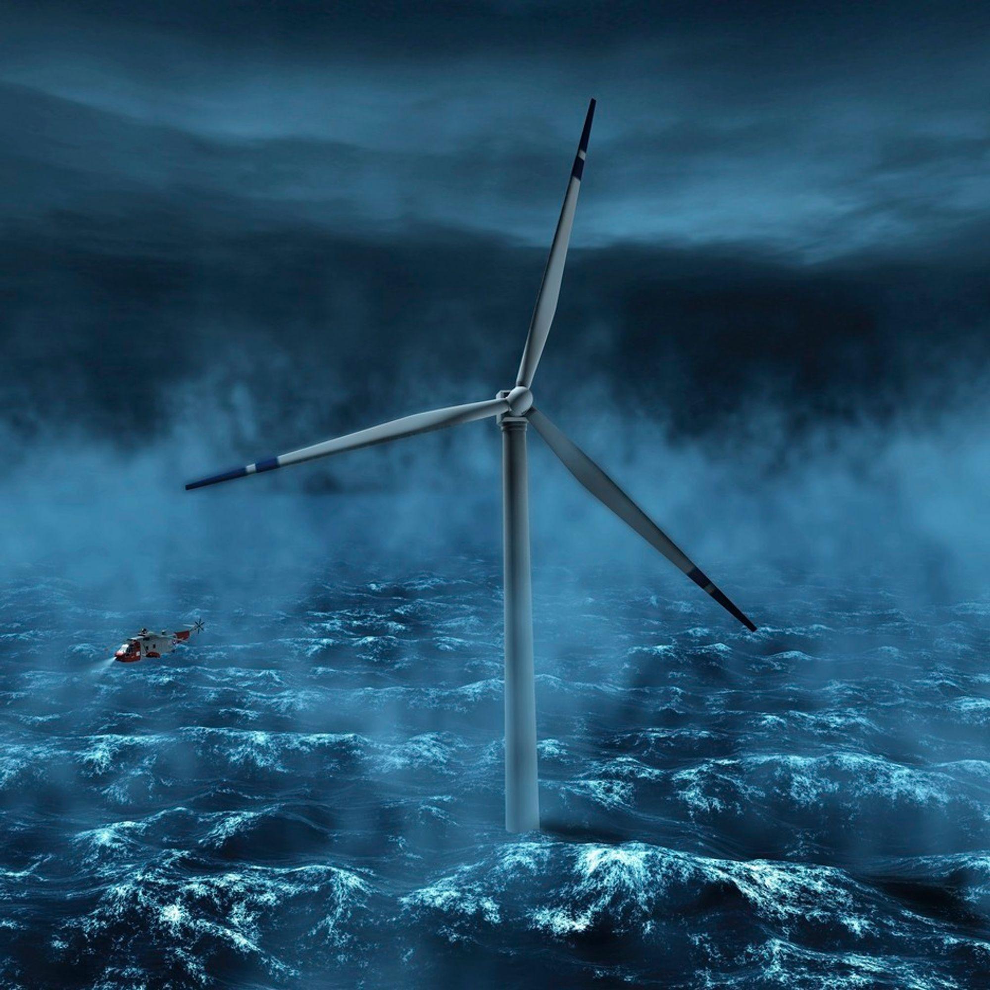 STOR: Statoilhydros Hywind blir den første industrielle fullskala demonstrasjonsenheten for flytende vindturbiner. Enheten er et snaut 200 meter langt tårn, hvor cirka 65 meter vil rage over havoverflaten. Illustrasjon.