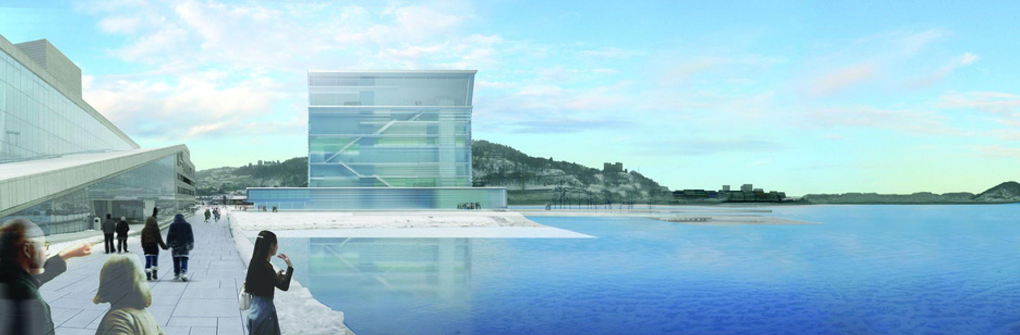 """VINNER: Juryen mener at """"Lambda"""" av spanske Herreros Arquitectos bør bli det nye Munch-museet i Bjørvika. Operadirektøren frykter at operaen blir overskygget."""