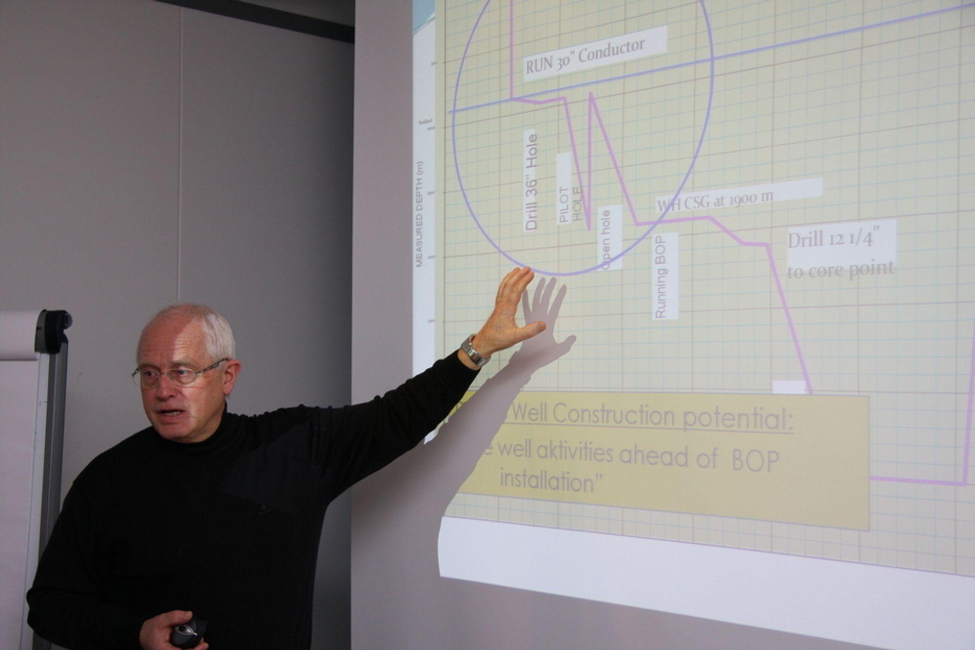 PENGER: Harald Strand forklarer hvordan CAN sparer tid og penger, blant annet ved å bruke offshorefartøy til installasjon i stedet for borerigger.