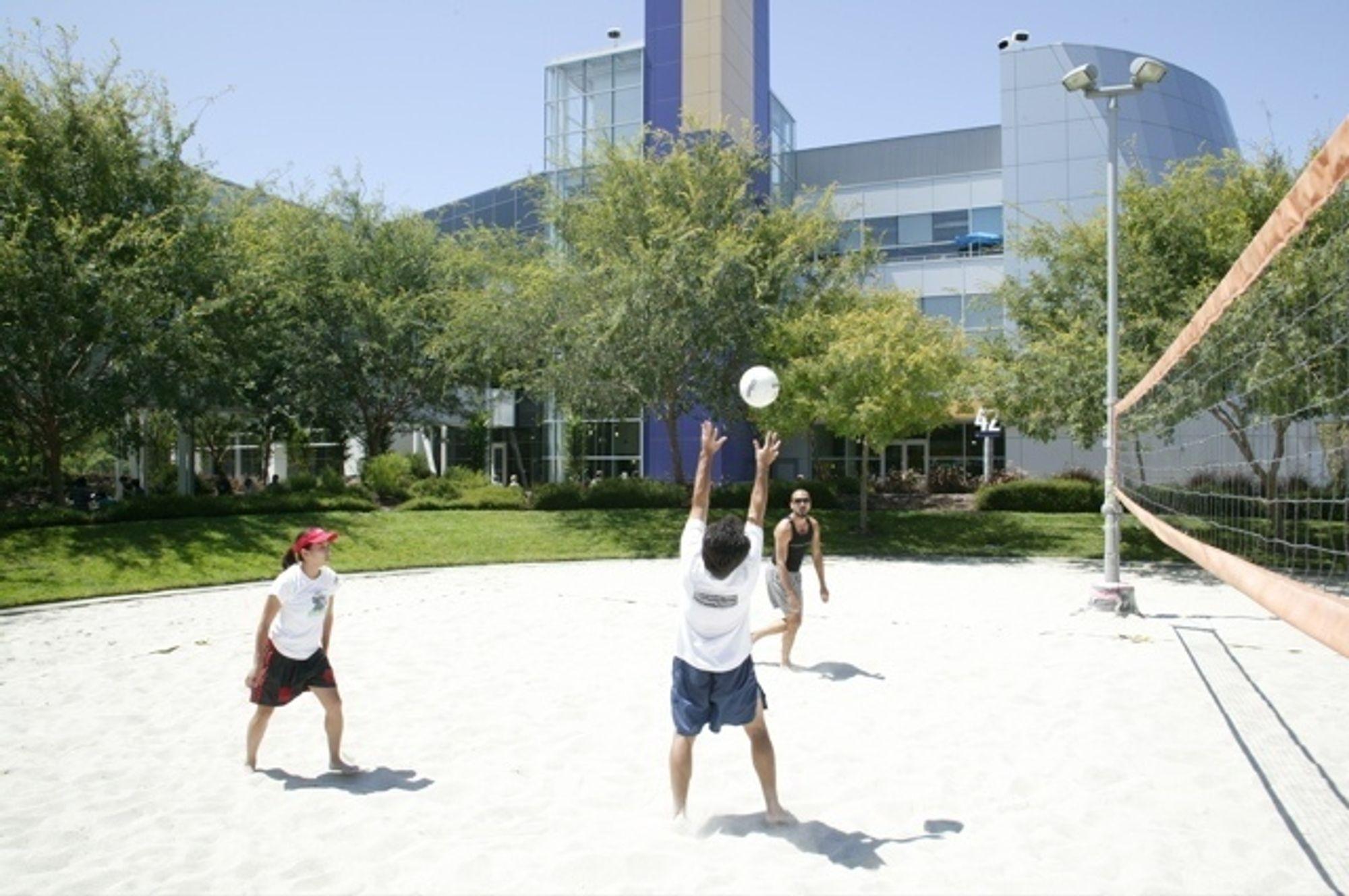 NYTT: Fasiliteter for volleyball er en av godene ved å jobbe for Google.