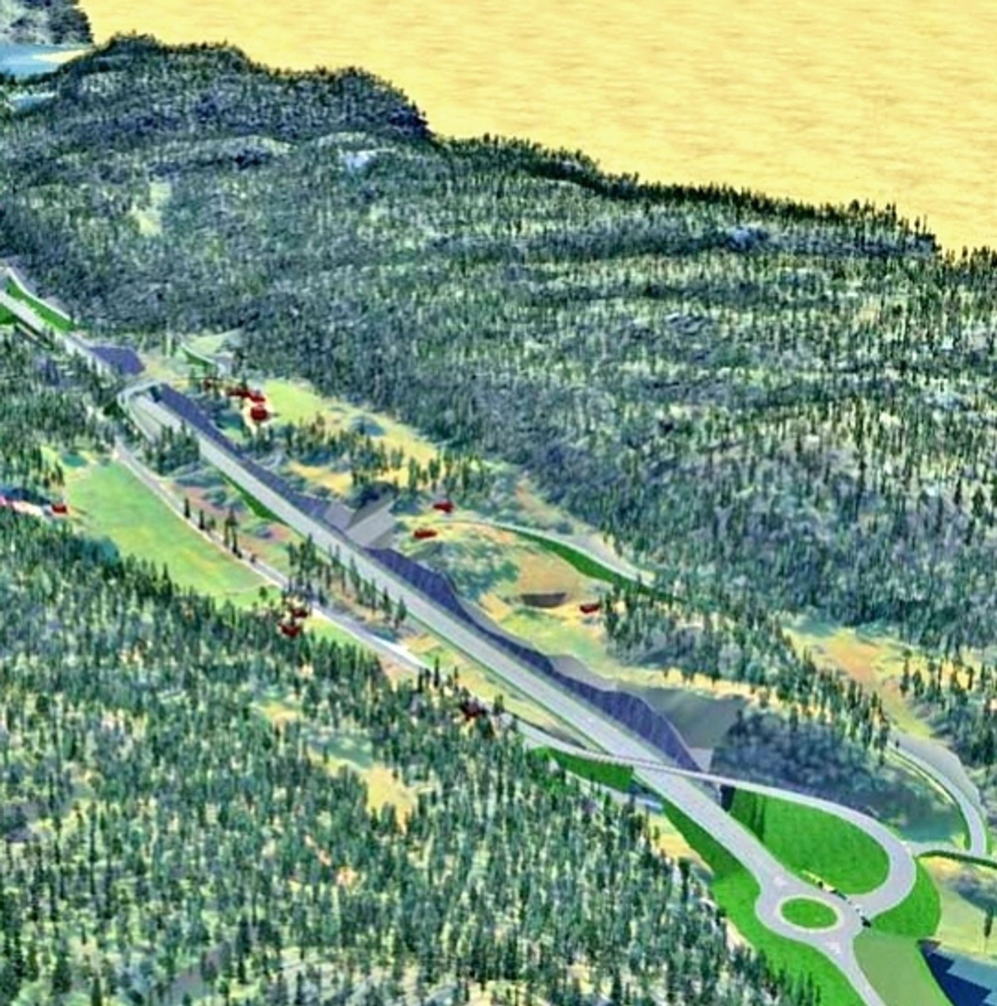 Masseuttaket blir betydelig og skjæringene høye langs den nye E 39 mellom Fardal og Osestad.