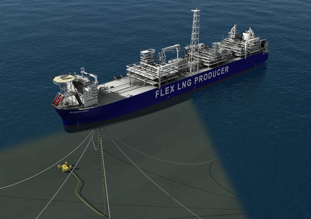 FØRST: Flex LNGs flytende produskjonalegg forLNG blir verdens første i sitt slag. Disse skipene kan brukes til å utnytte gass fra felt som ligger langt unna annen infrastruktur, eller fra oljefelt hvor gassen i dag brennes.