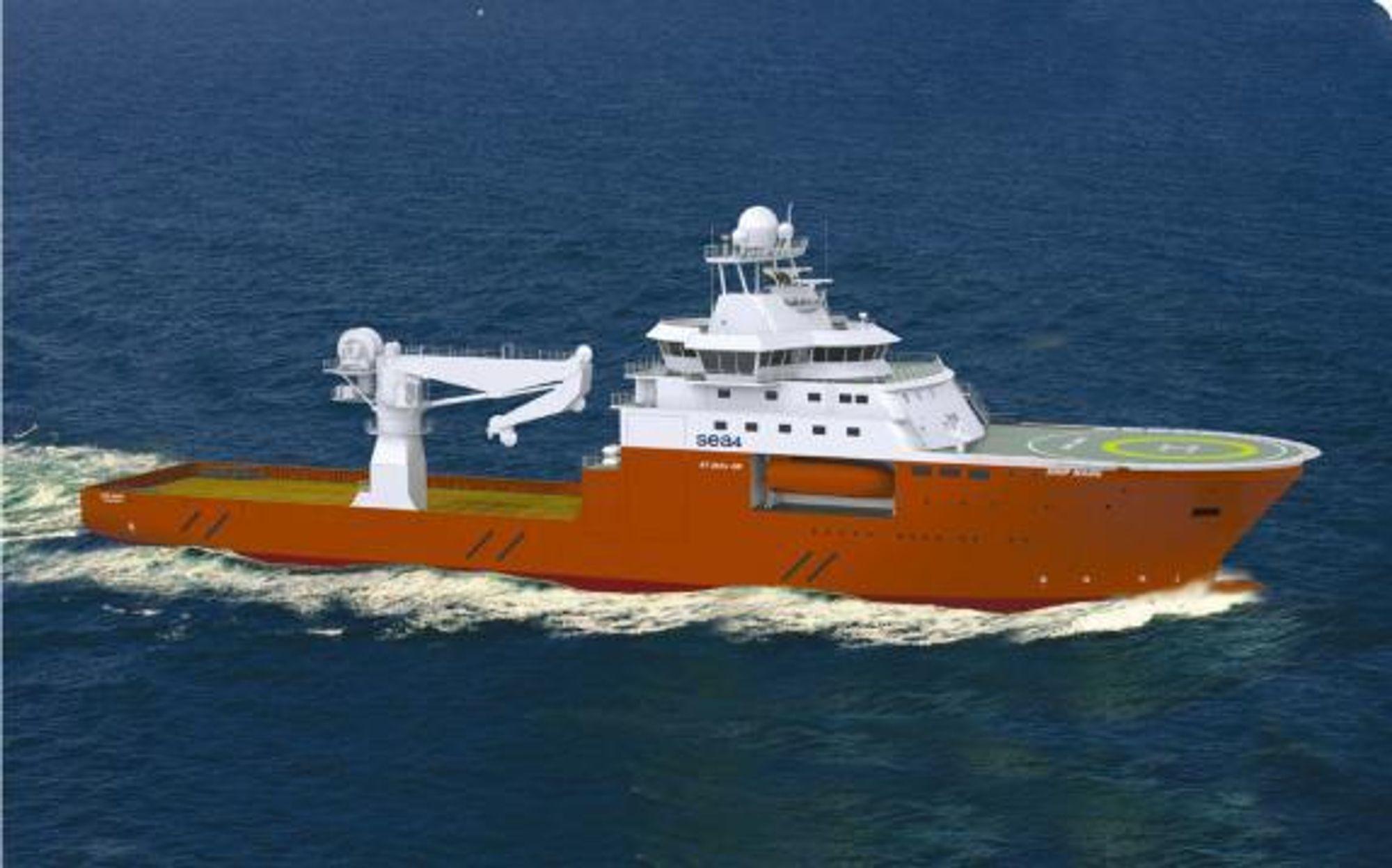 På ROT: GC Rieber Shipping overtar de to nybyggene fra norske Sea4. ROV/Konstruksjonsskipene er designet av Skipsteknisk med betegnelsen ST-254L CD.