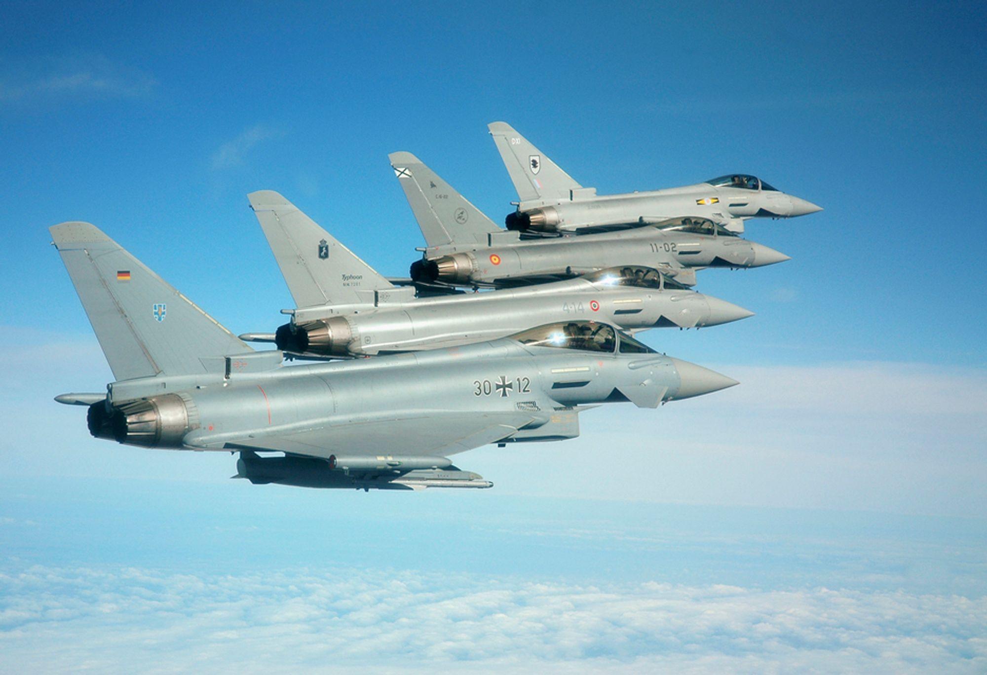 Eurofighters fire medlemsland representert i hver sin Typhoon: Tyskland (nærmest), Italia, Spania og Storbritannia.