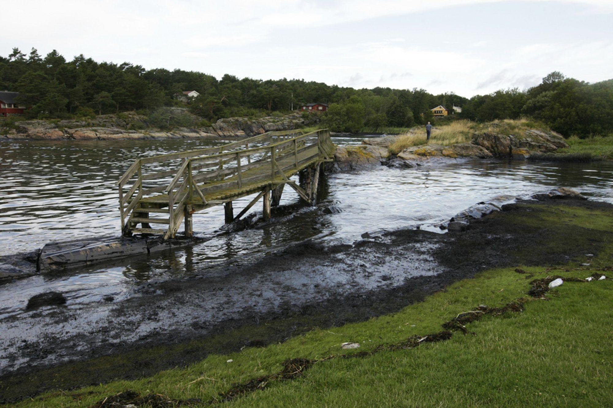 Redningsmannskaper jobber nå med å rense opp oljesøl etter at det Panama-registrerte bulkskipet Full City gikk på grunn ved Såstein utenfor Langesund i Telemark i natt.