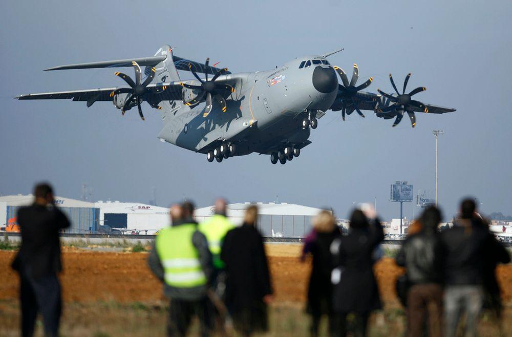 Airbus A400M fløy for første gang i formiddag.