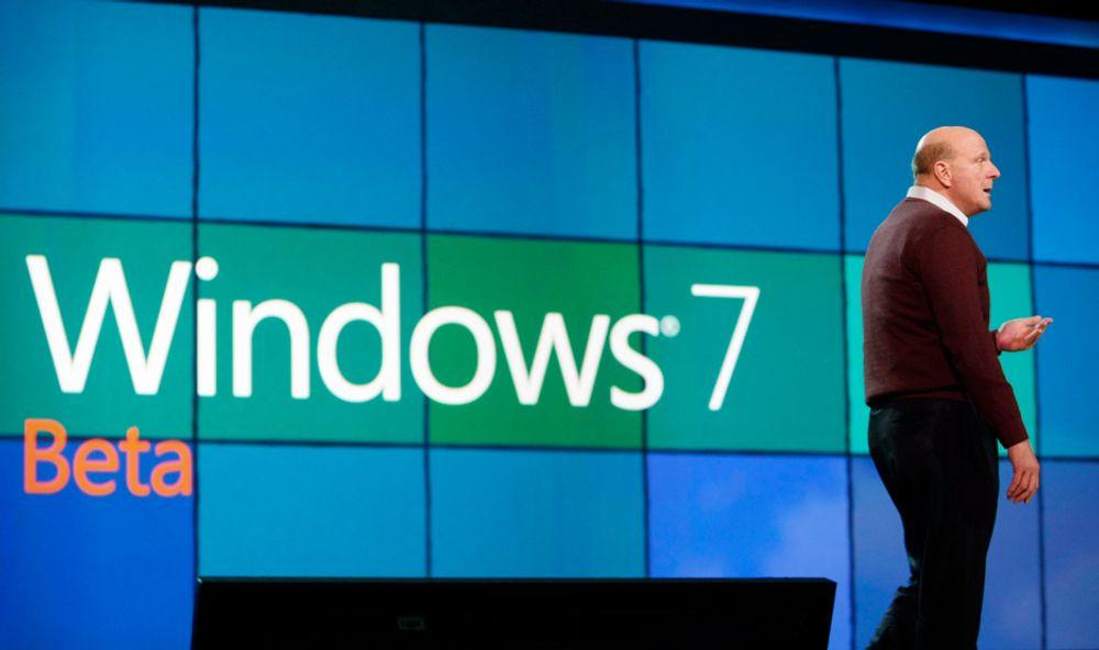 PRESSET: Steve Ballmer leverer nå Windows 7 uten Explorer.