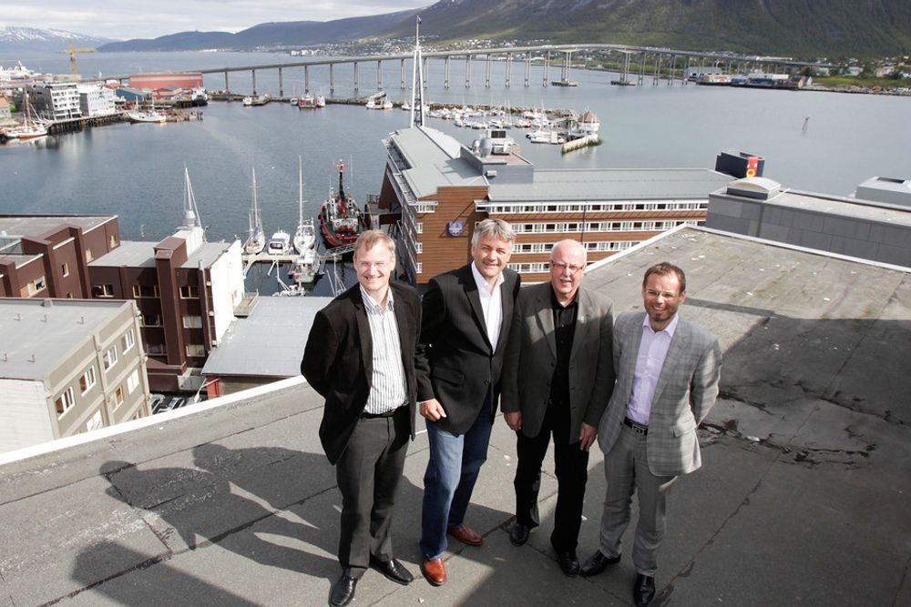 Tromsøværingene er blant de som nå får tilgang til kabel-tv fra Get. Fra venstre daglig leder Kjell Arne Mikalsen i 3net, administrerende direktør Gunnar Evensen i Get, administrerende direktør Jacob N. Jacobsen i Trollfjord og administrerende direktør Trond Arne Kongsli i Pronea.