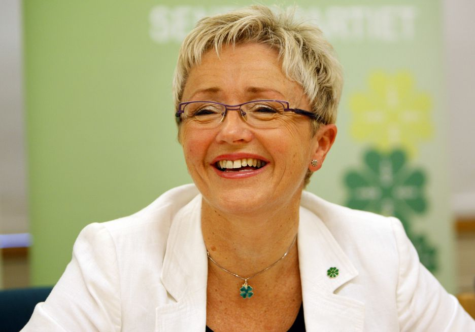 Partileder Liv Signe Navarsete snakker på pressetreffet i Oslo tirsdag om Senterpartiets landsmøte senere i uken.