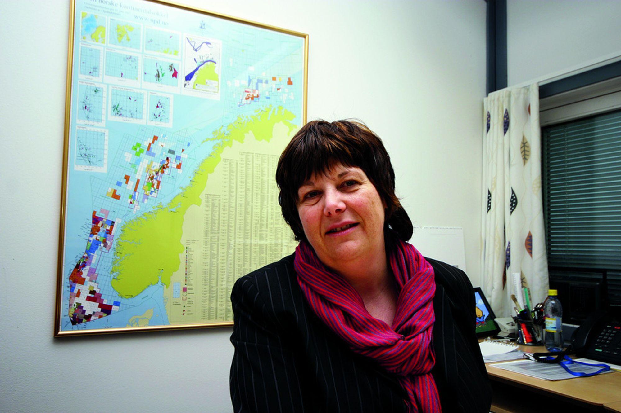 Oljedirektør Bente Nyland er ikke nervøs for at investeringer blir skrinlagt som følge av lav oljepris utover i 2009.
