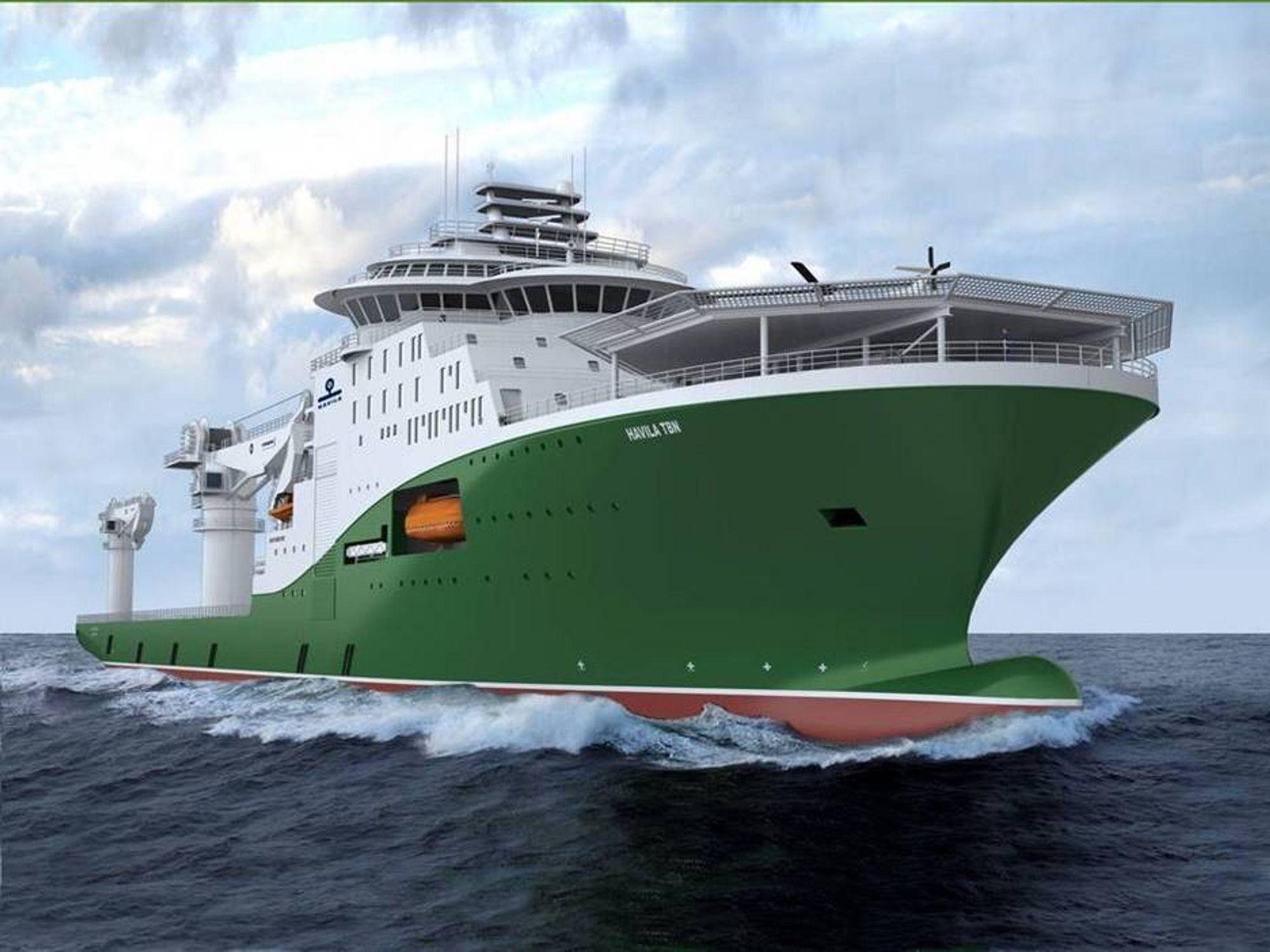 KNASELERERT: Havila har kansellert kontrakten på dette kombinerte konstruksjons og dykkerfartøyet til 1,5 milliarder kroner.