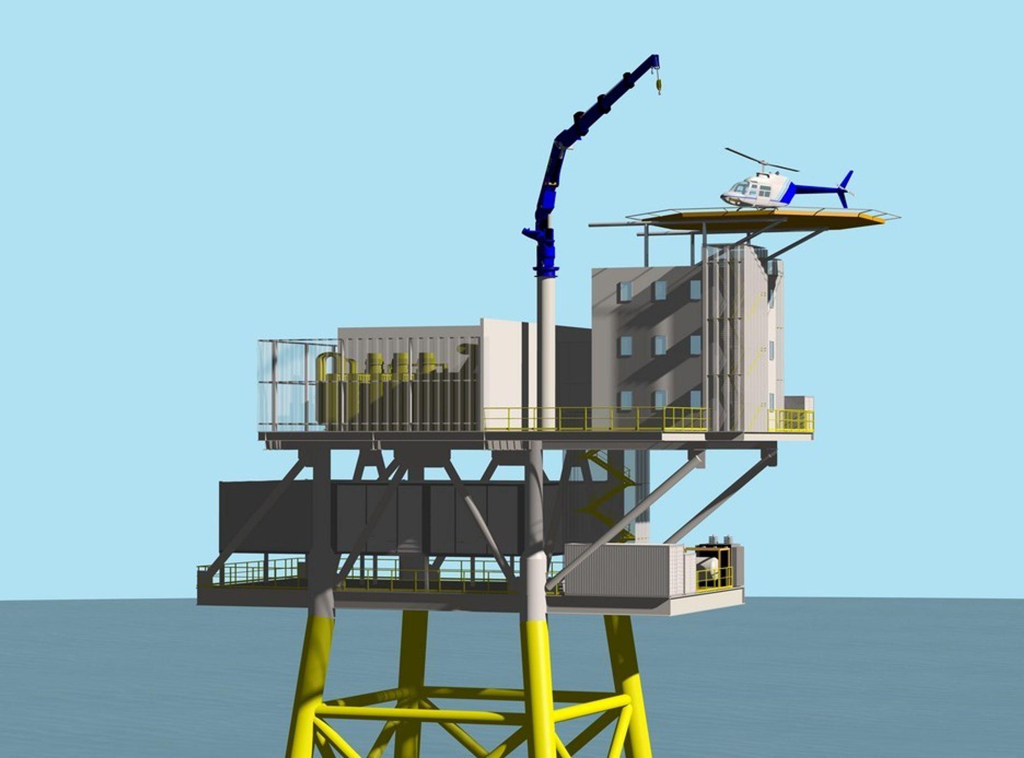 TRANSFORMATORSTASJON: Det er nødvendig å samle opp all strømmen fra ulike vindturbiner i en vindpark til havs før den sendes den i land. Troll WindPower og Bergen Group samarbeider nå om å bygge plattformer med transformatorstasjon om bord.
