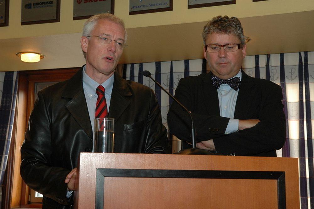 FUSJONSKAMERATENE: Aker Explorations administrerende direktør Bård Johansen og Erik Haugane mener at Det norske blir et slagferdig selskap med store muligheter for funn.