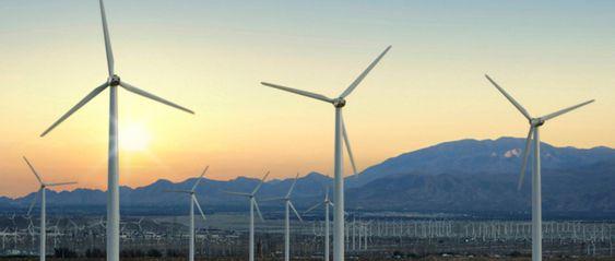 fornybar energi, vindkraft, vindmøller, solnedgang