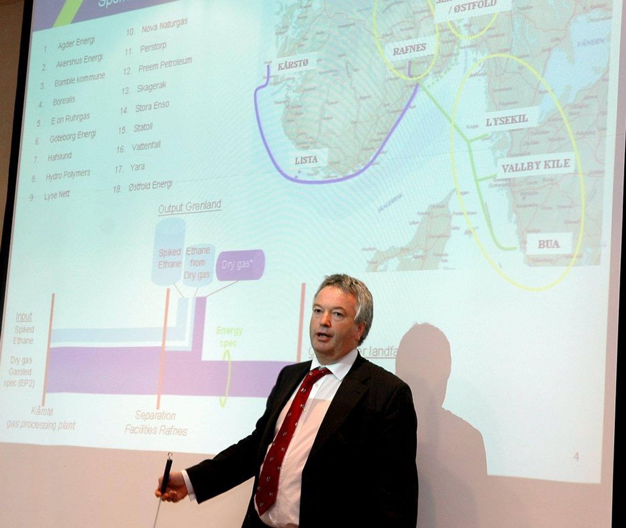 MÅ UTSETTE: StatoilHydro verger å gi de samme betingelsene for gass til Skanled som gassen selges for i Europa. Derfor må Thor Otto Lohne i Cassco utsette inlevering av PAD med minst en måned.