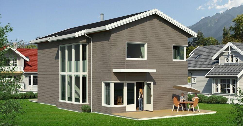 FØRST: Slik blir MIa, med trelags glass og solfangere på taket, som er 550 mm tykt. Totalt sett er det små vindusarealer, der lite vinduer på den andre siden av huset.