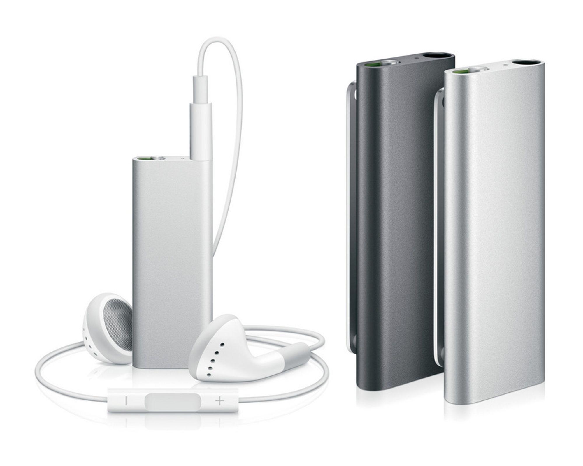 Nye iPod Shuffle veier like over 10 gram.