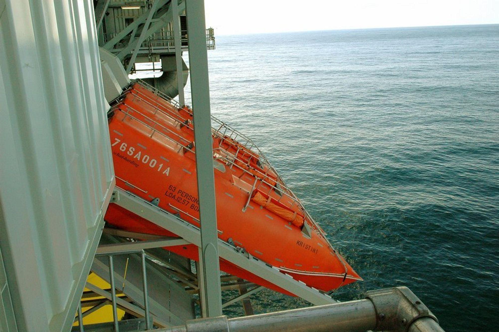 FEIL PÅ FEIL: Utløsermekanismen på disse livbåtene var ikke i henhold til offshore-regelverket.  Liv kunne gått tapt dersom utløsermekanismen ikke virker.