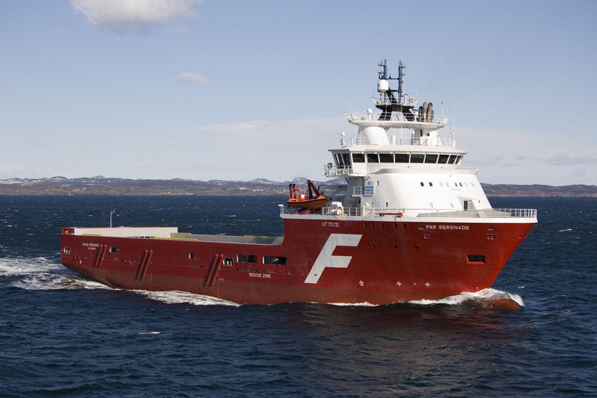 Far Serenade er bygget ved STX Europe i Brevik, Telemark. Skipet er 93,9 meter langt og 21 meter bredt. Design: Rolls-Royce UT 751 CD
