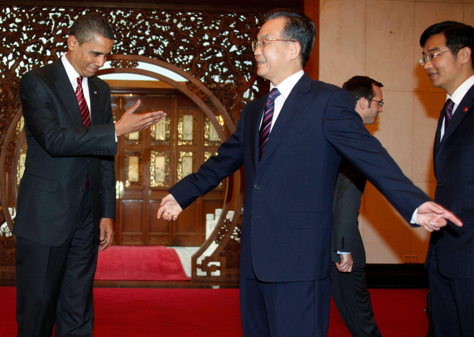 USAs president Barack Obama er på statsbesøk i Kina denne uka og har hatt møter med blant andre Kinas statsminister Wen Jiabao.