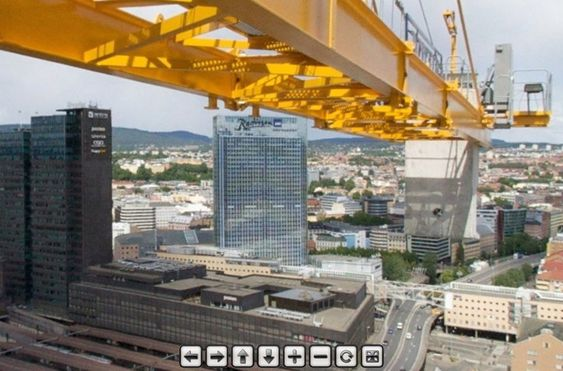 Den høyeste krana på Oslo S kan løfte gjenstander 92 meter opp i lufta.