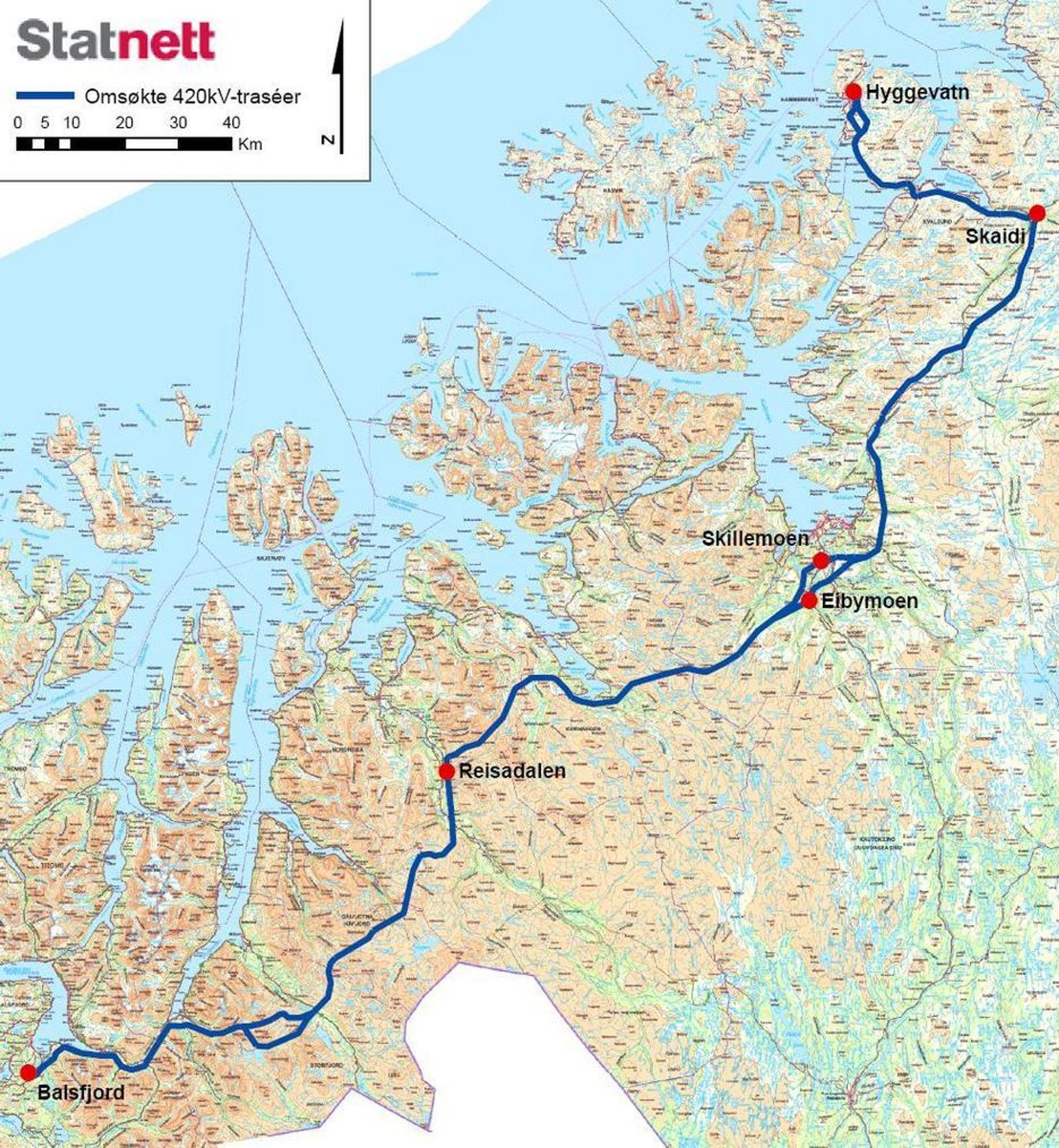 420 kV-linje fra Balsfjord til Hammerfest. Statnett vil bruke tre milliarder kroner på 370 km kraftlinjer på 420 kV mellom Balsfjord i Troms og Hammerfest i Finnmark, og har søkt NVE om konsesjon. Kraftforbruket i området kan tredobles på grunn av Goliat-utbyggingen, økt forbruk på Snøhvit og oppstart av gruvedriften i Sør-Varanger. Linjen går gjennom Balsfjord, Storfjord, Kåfjord, Nordreisa, Kvænangen, Alta, Kvalsund og Hammerfest kommuner og er ferdig i 2016, ifølge Statnett. En ny ledning fra Balsfjord 160 km sørover til Ofoten skal også bygges for å opprettholde forsyningssikkerheten i nord. Den koster en milliard og er ferdig 2015.