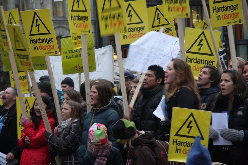 NEI: Vestlendinger demonstrerte mot kraftlinjer utenfor Stortinget i dag.