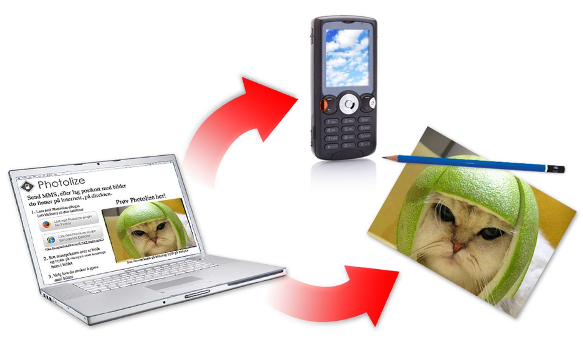 Enklere blir det ikke: Photolize lar deg raskt overføre bilder fra nettleser til din eller andres mobil.