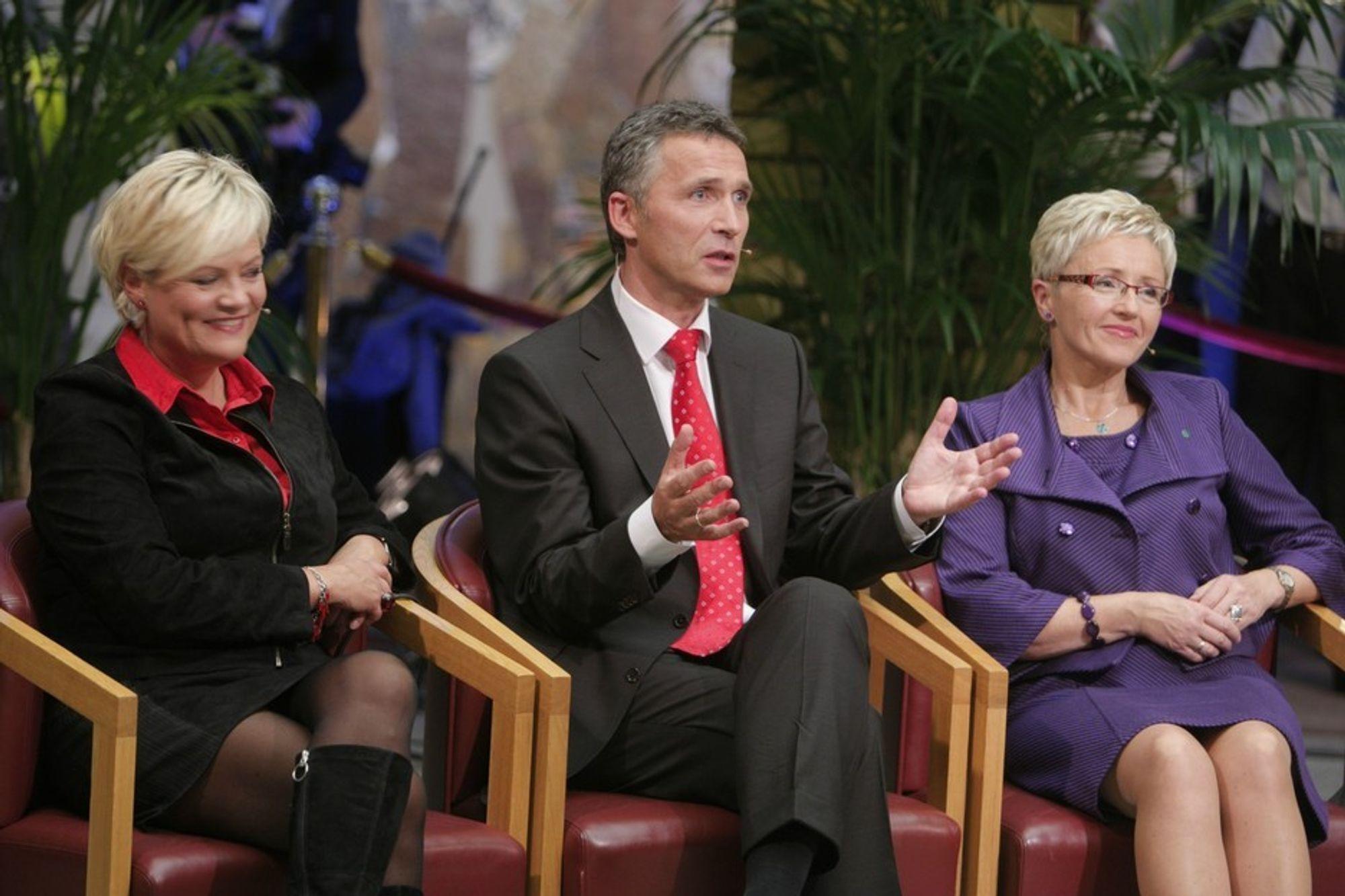 SVs Kristin Halvorsen, Aps Jens Stoltenberg og Sps Liv Signe Navarsete under partilederdebatten på stortinget etter midnatt.