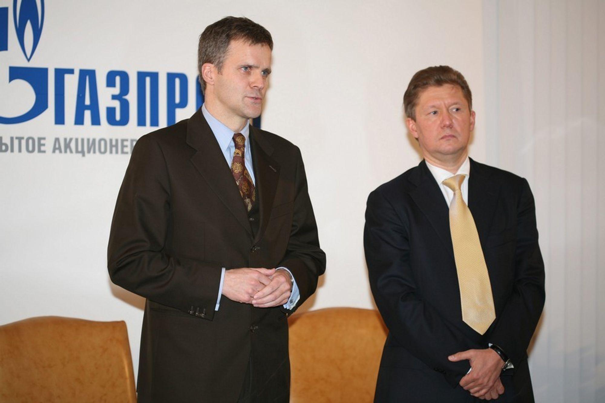 KAN FORSIKES: Konserjefene helge Lund og Alexej Miller i henholdvis StatoilHydro og Gazprom kan for se at prestisjeprosjektet Sjtokman må utsettes på grunn av dårlig marked for gass og LNG