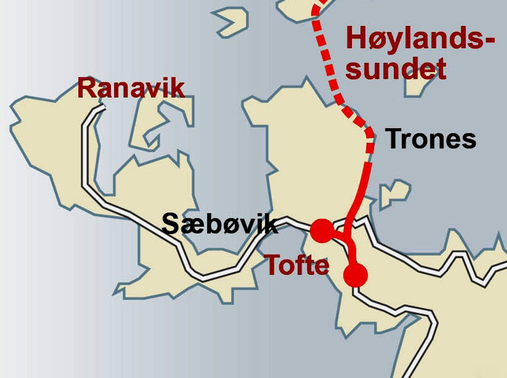 Halsnøytunnelen med tilstøtende veger er markert med rødt. Etter at den ble åpnet, går fergesambandet mellom Kvinnherad og Stord via Ranavik. Vegen mellom Tofte og Ranavik er det ikke gjort mye med inntil nå.