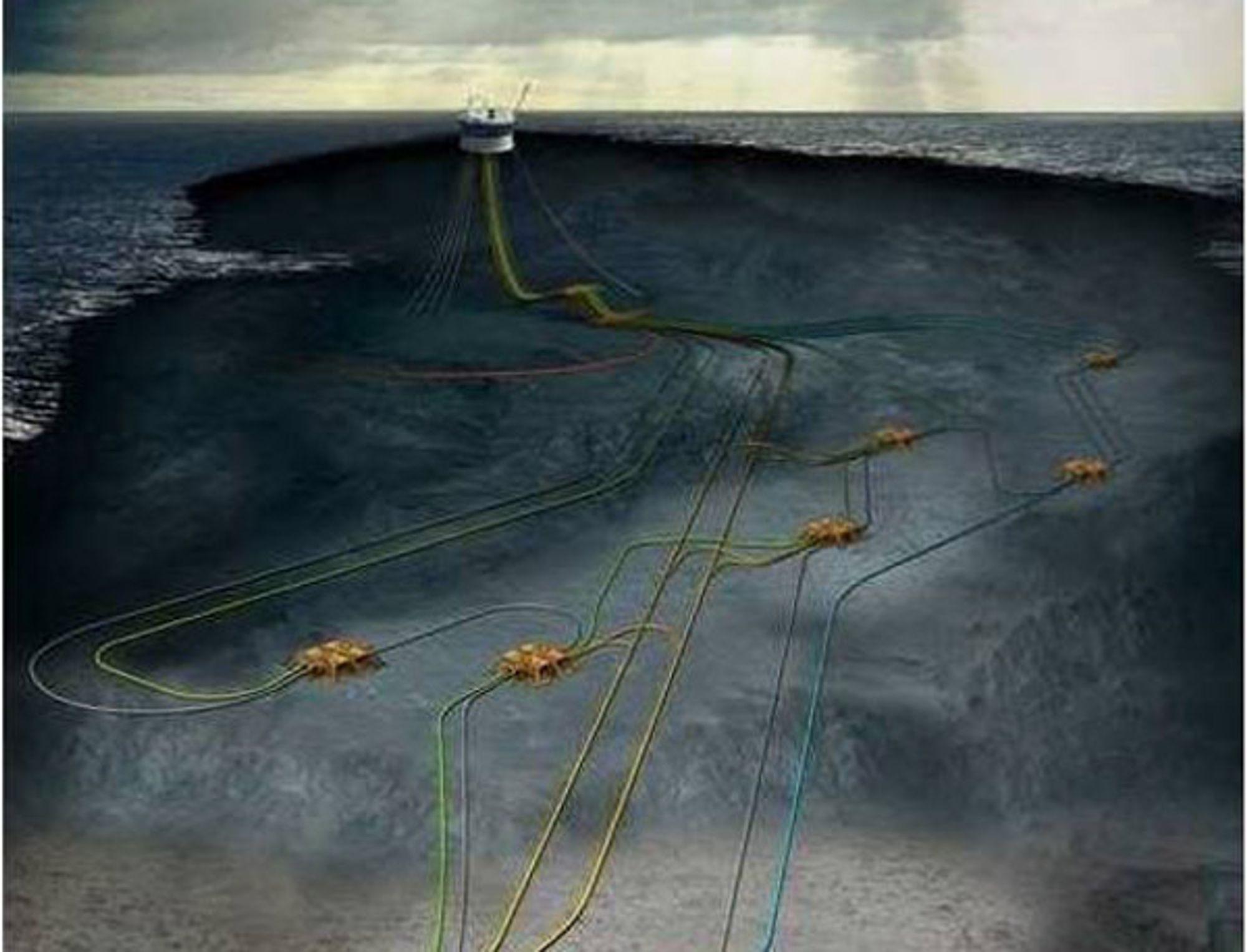 GOLIAT: Feltet bygges ut med en plattfor og et undervannsanlegg med til sammen 22 brønner. Hovedkraftforsyningen er fra land.