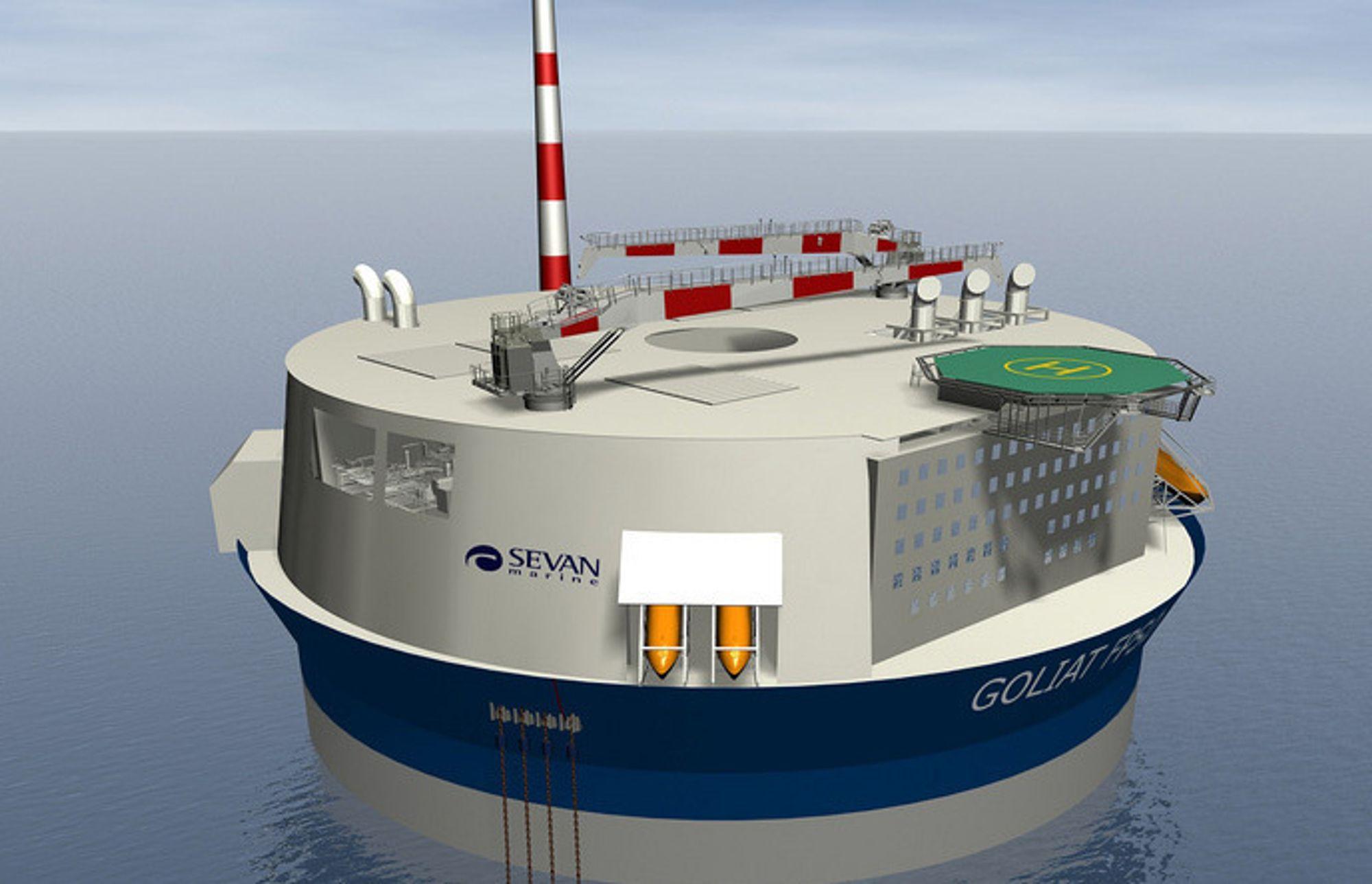 Sevans konsept for Goliat-plattform. Skroget skal bygges i Korea sammen med Samsung.