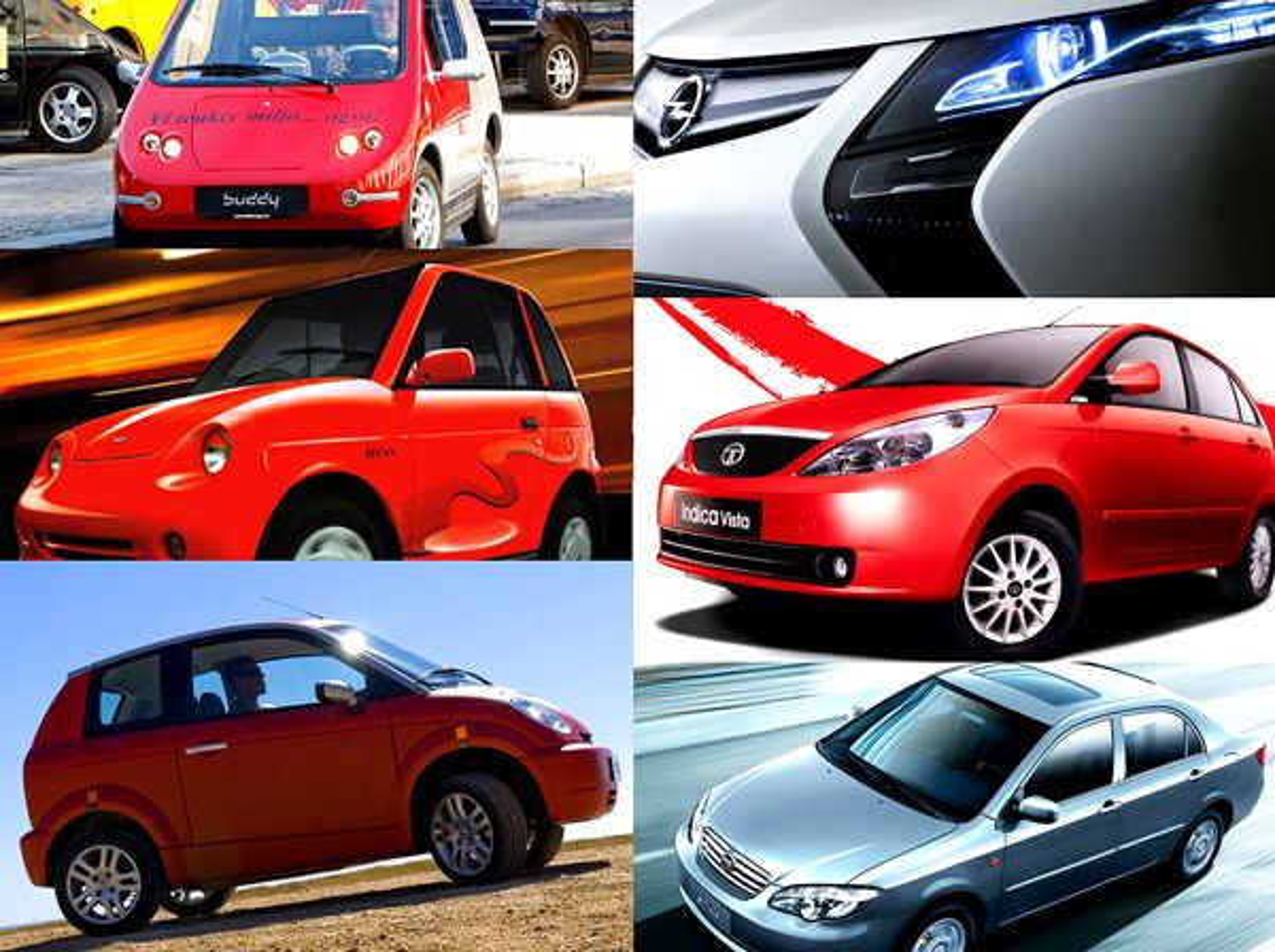 Elbilene og plug-in-hybridene Buddy (fra øverst til venstre og med klokka), Opel Ampera, Tata Indica EV, BYD F6DM, Think City og Reva er bare seks av 83 kjøretøy som er beskrevet i den nye norsk-svenske kjøpeguiden.