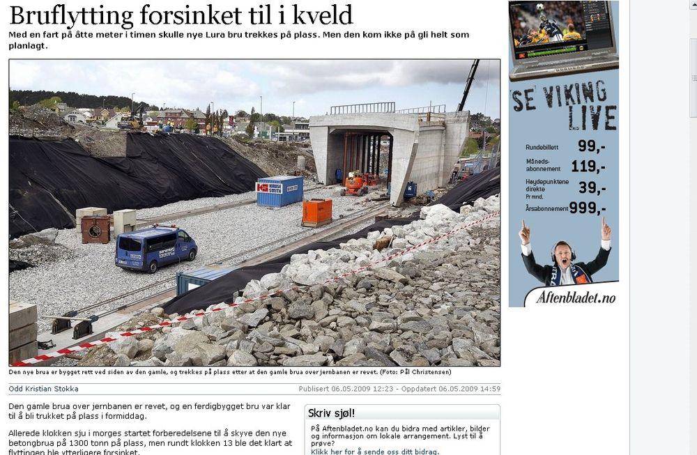 BOM STOPP: Stavanger Aftenblads nettsider har fler bilder fra dagens bruflytting og såpesak.