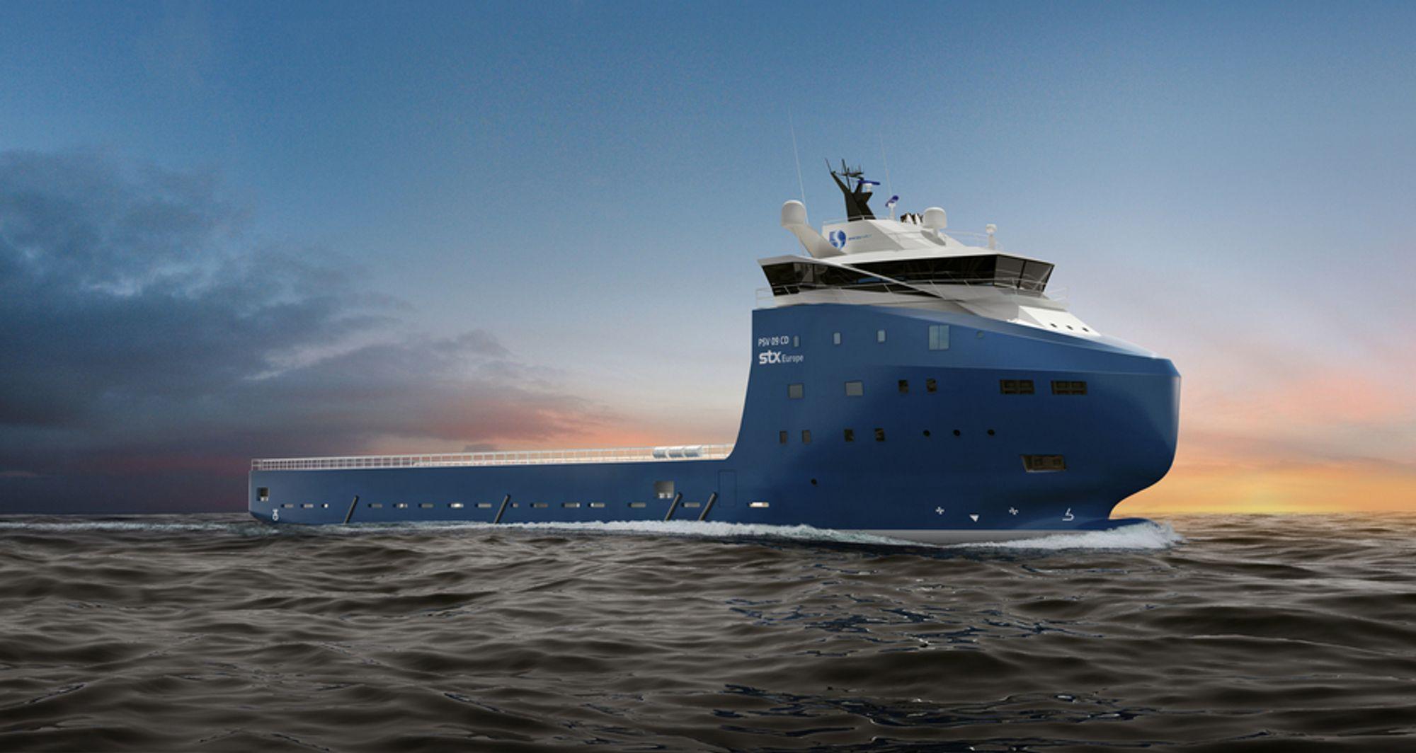 NEW LOOK: STX Norway Offshore Design har utviklet den nye forsyningsskipstypen PSV 09 CD for STX Europe. Slik skal skipet til Deep Sea Supply Navegação Maritima Ltda. i Brazil se ut når det er fredig bygget i Brasil ved STX Brazil Offshore.