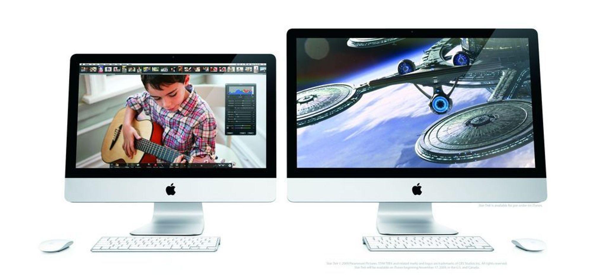 STØRRE: Nye iMac kommer med skjermstørrelser på 21,5 og 27 tommer.
