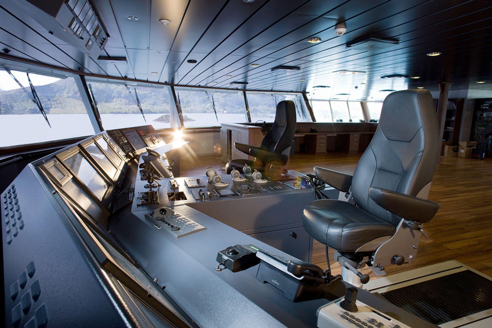 ALARM: UBAS fungerer som dødmannsknapp. Systemet oppdager dersom det opppstår uregelmessigheter på broen og varsler kaptein eller andre, både visuelt og med lyd.