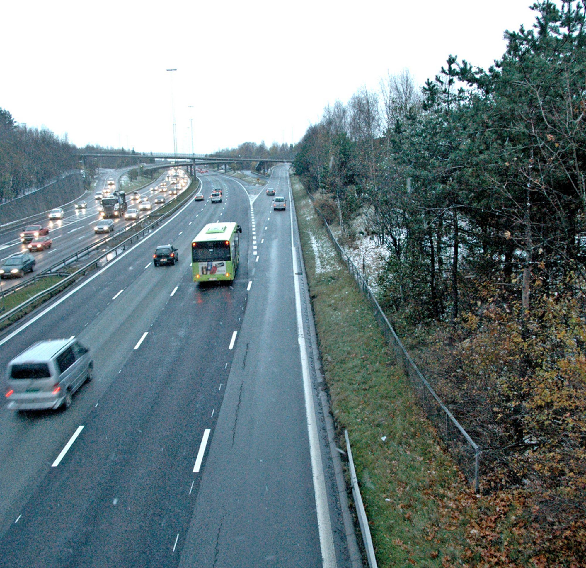 Trærne langs E 6 på Furuset til høyre på bildet må vike plass for den nye gang/sykkelvegen. Gående og syklende vil bli beskyttet mot trafikken på E 6 med et rekkverk og en støyskjerm.