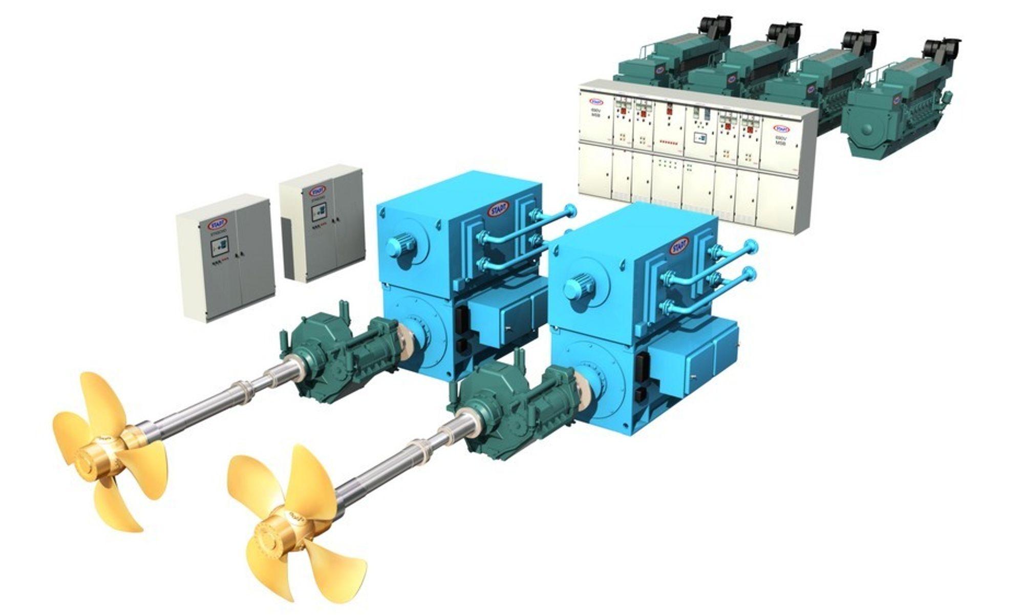MILJØVENNLIG: Slik ser det LNG-elektriske framdriftssystemet ut.