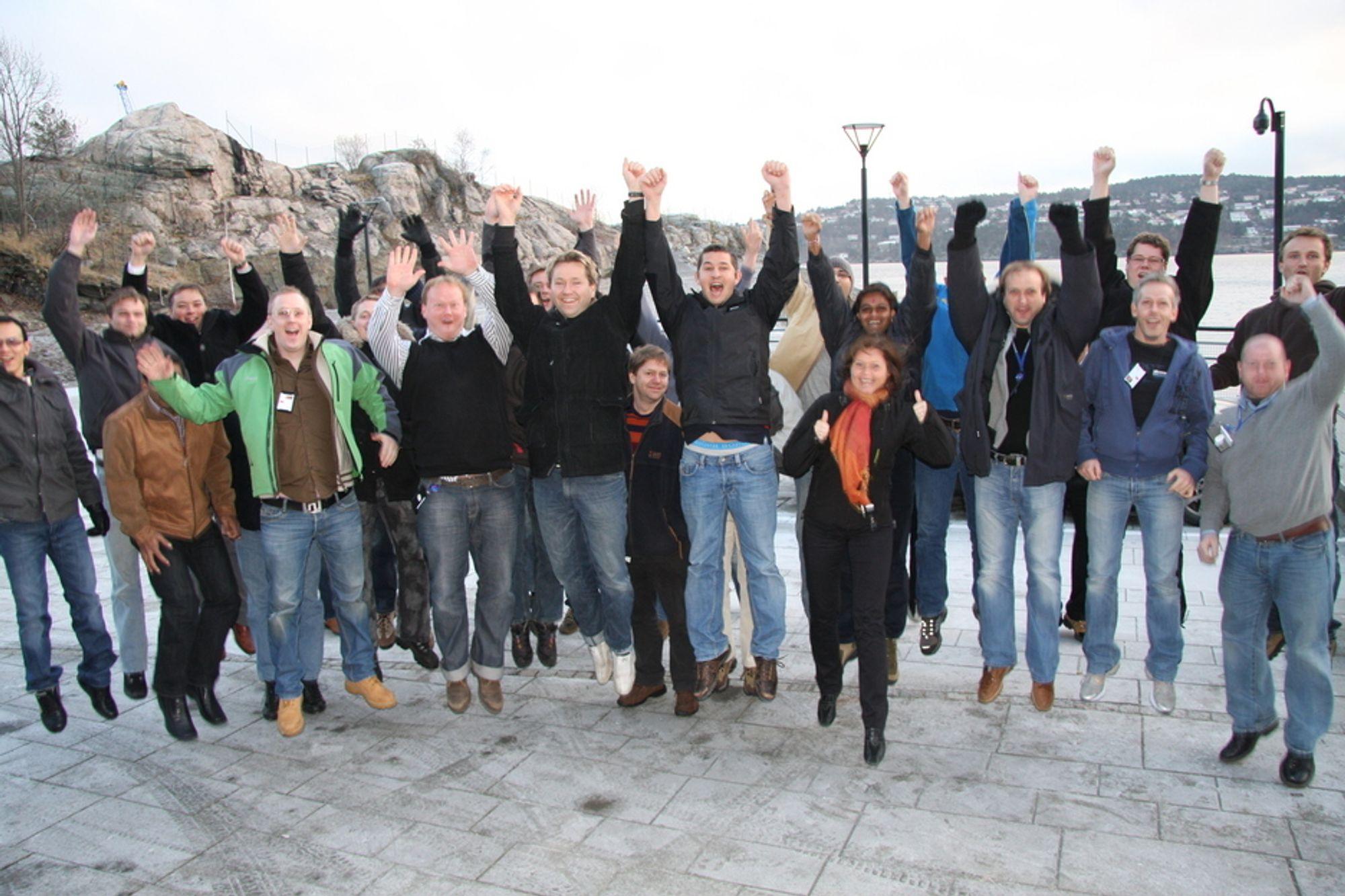 VANT I FJOR: Fjorårets vinnere, Kongsberg Intellifield, jubler over Ingeniørbragden.